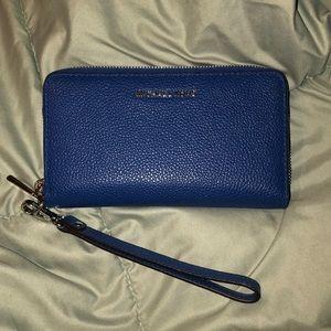 Michael Kors leather smartphone wristlet blue